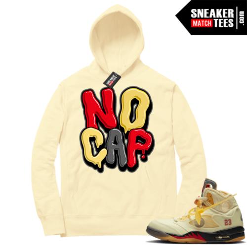 OFF White Jordan 5 Sail Sneaker Hoodies Light Yellow No Cap Bubble Drip
