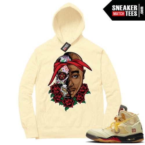 OFF White Jordan 5 Sail Sneaker Hoodies Light Yellow Pac Sugar Skull