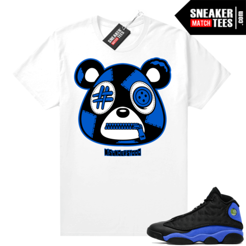 Royal 13s Sneaker Match Tees White Misunderstood Bear