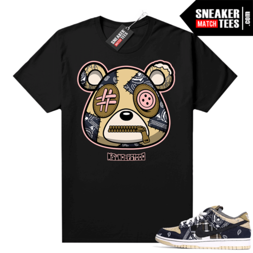 Travis Scott Dunks Sneaker Match Tees Black Misunderstood Bear