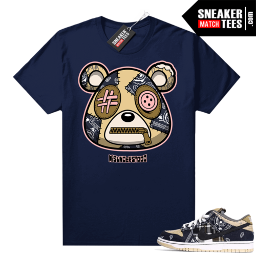 Travis Scott Dunks Sneaker Match Tees Navy Misunderstood Bear