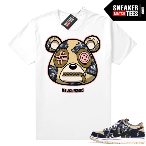Travis Scott Dunks Sneaker Match Tees White Misunderstood Bear