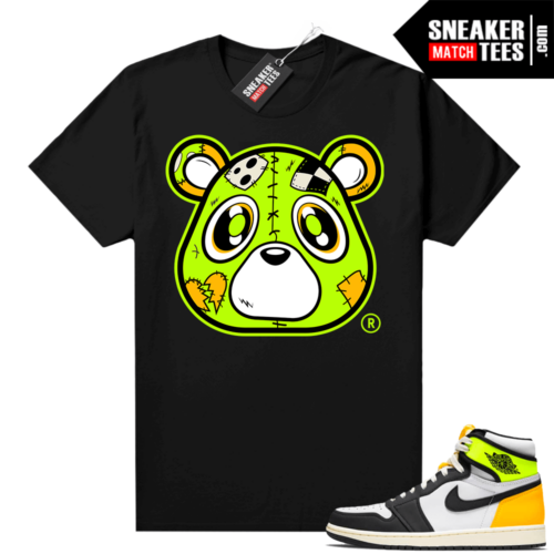 Volt Gold Jordan 1 Matching Sneaker Tees Shirts Black Heartless Bear