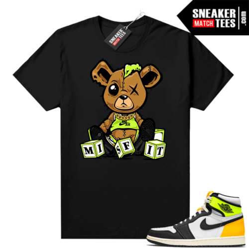 Volt Gold Jordan 1 Matching Sneaker Tees Shirts Black Misfit Teddy