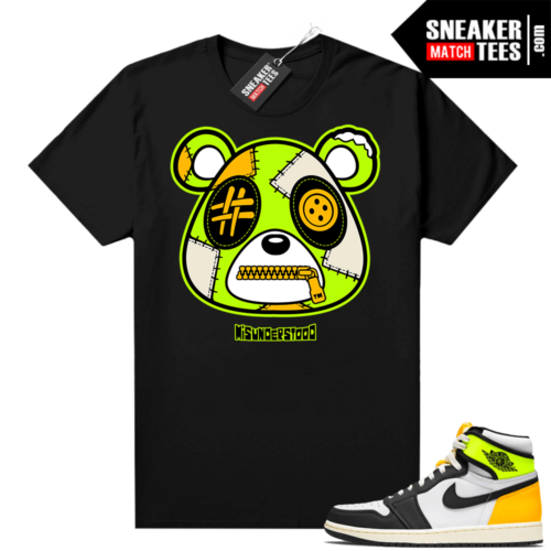 Volt Gold Jordan 1 Matching Sneaker Tees Shirts Black Misunderstood Bear