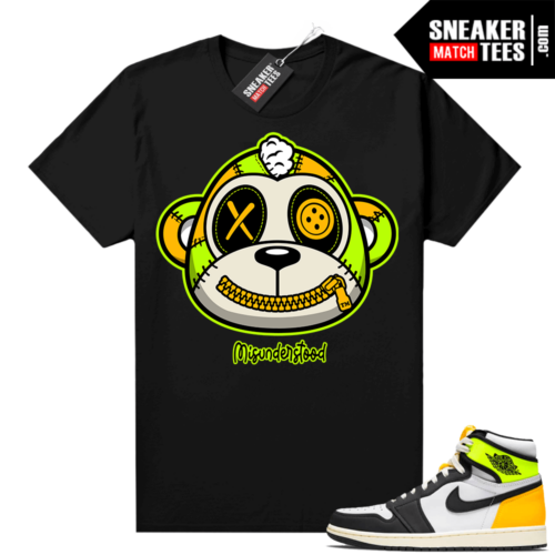 Volt Gold Jordan 1 Matching Sneaker Tees Shirts Black Misunderstood Monkey