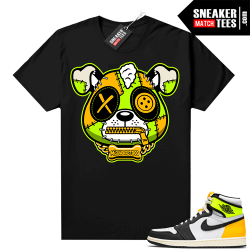 Volt Gold Jordan 1 Matching Sneaker Tees Shirts Black Misunderstood Puppy