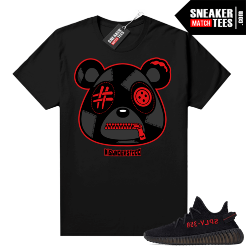 Yeezy 350 Bred Sneaker Match Tees Black Misunderstood Bear