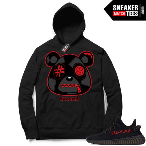 Yeezy 350 V2 Bred Sneaker Match Hoodie Black Misunderstood Bear