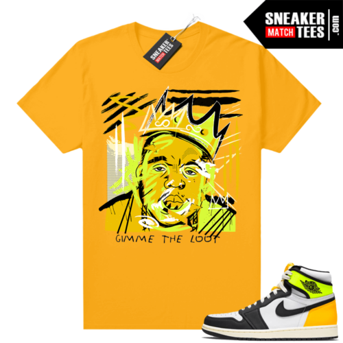 Air Jordan 1 Volt Gold shirt to match Gold Basquiat Biggie