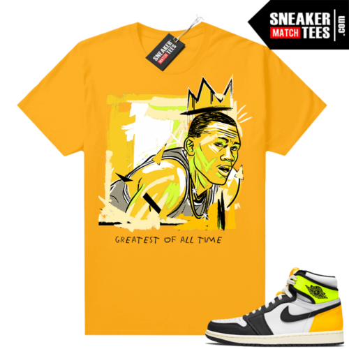 Air Jordan 1 Volt Gold shirt to match Gold Basquiat Goat