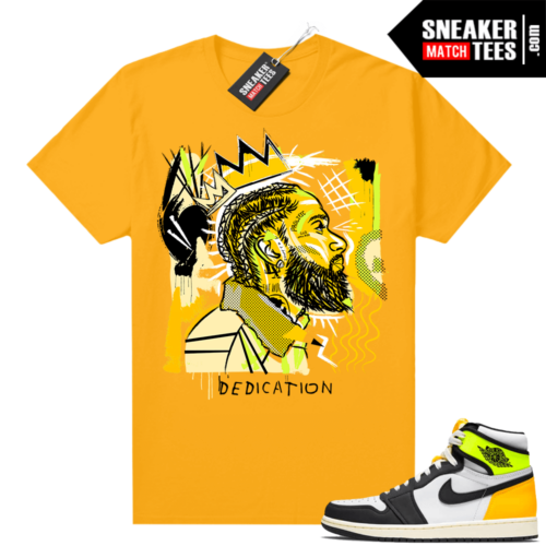 Air Jordan 1 Volt Gold shirt to match Gold Basquiat Nipsey
