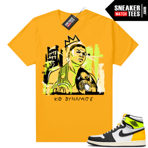 Air Jordan 1 Volt Gold shirt to match Gold Basquiat Tyson