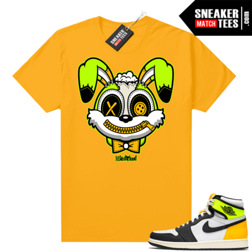 Air Jordan 1 Volt Gold shirt to match Gold Misunderstood Bunny