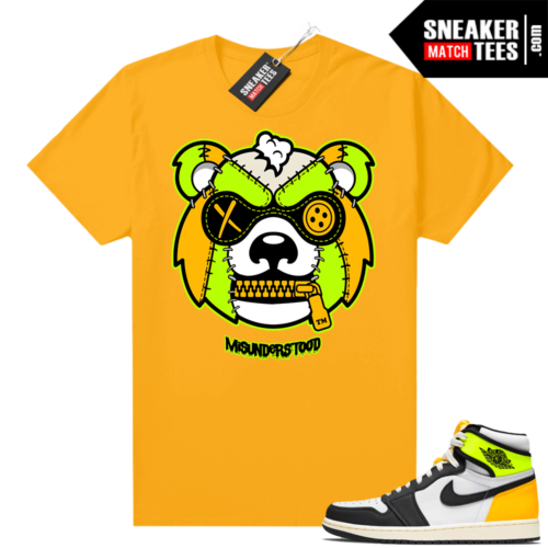 Air Jordan 1 Volt Gold shirt to match Gold Misunderstood Grizzly