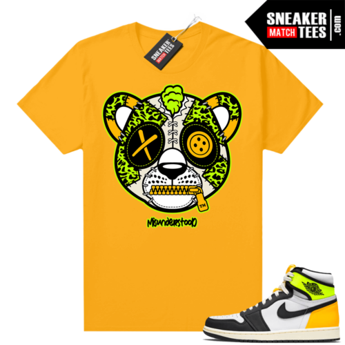 Air Jordan 1 Volt Gold shirt to match Gold Misunderstood Leopard