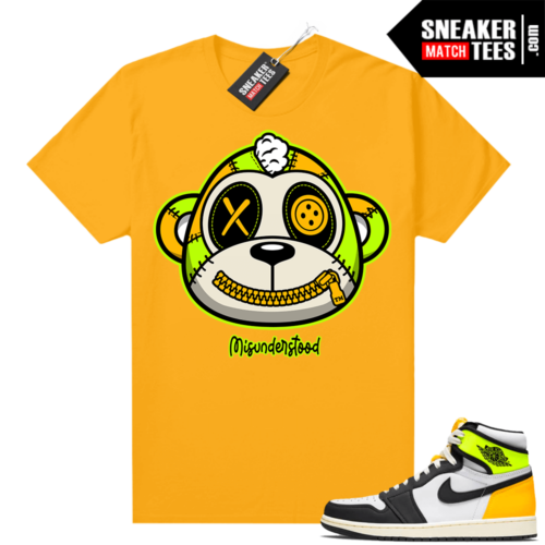 Air Jordan 1 Volt Gold shirt to match Gold Misunderstood Monkey