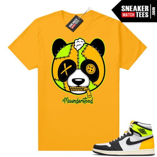 Air Jordan 1 Volt Gold shirt to match Gold Misunderstood Panda