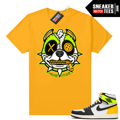 Air Jordan 1 Volt Gold shirt to match Gold Misunderstood Pitbull Puppy