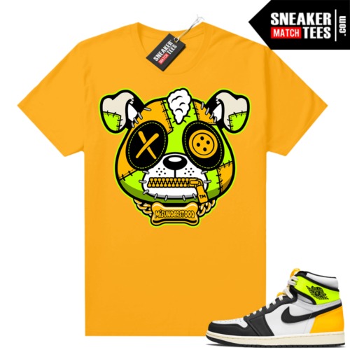 Air Jordan 1 Volt Gold shirt to match Gold Misunderstood Puppy
