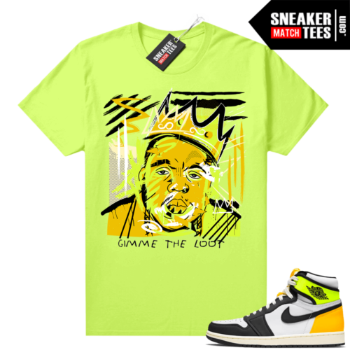 Air Jordan 1 Volt Gold shirt to match Neon Yellow Basquiat Biggie