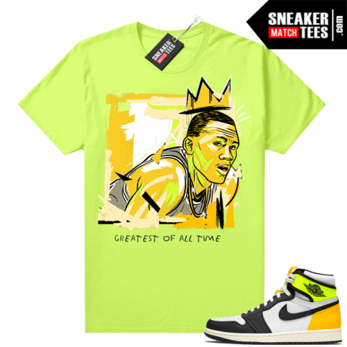 Air Jordan 1 Volt Gold shirt to match Neon Yellow Basquiat Goat