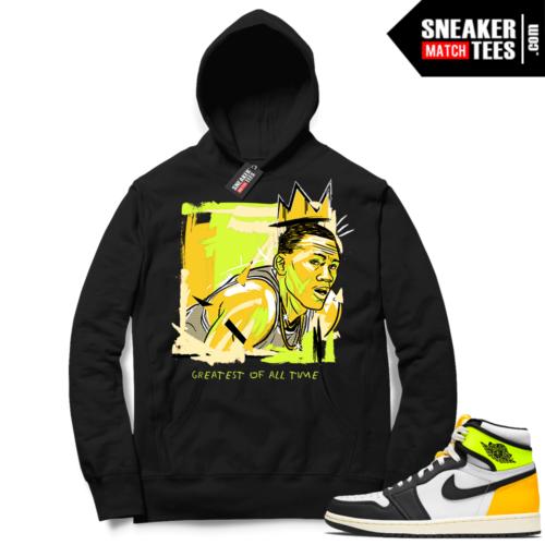 Jordan 1 Volt Gold Hoodie Sneaker Match Black Basquiat GOAT