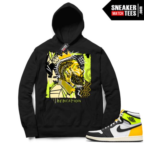 Jordan 1 Volt Gold Hoodie Sneaker Match Black Basquiat Nipsey