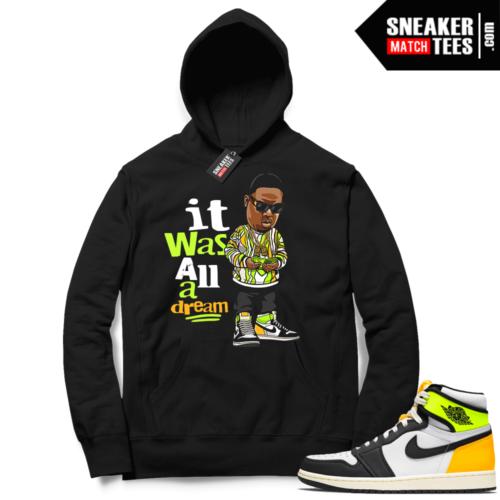 Jordan 1 Volt Gold Hoodie Sneaker Match Black Biggie Toon