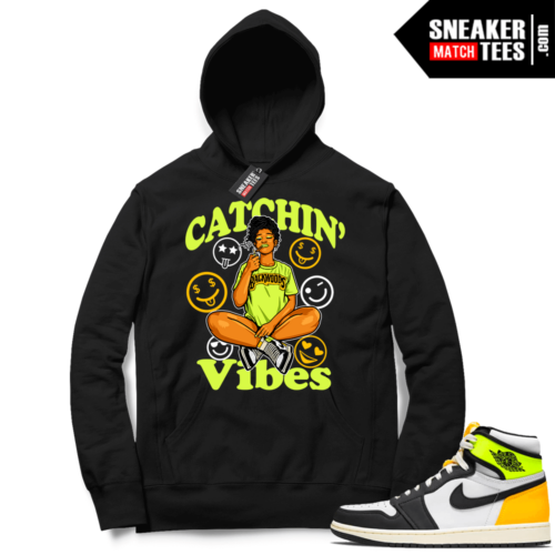 Jordan 1 Volt Gold Hoodie Sneaker Match Black Catchin Vibes