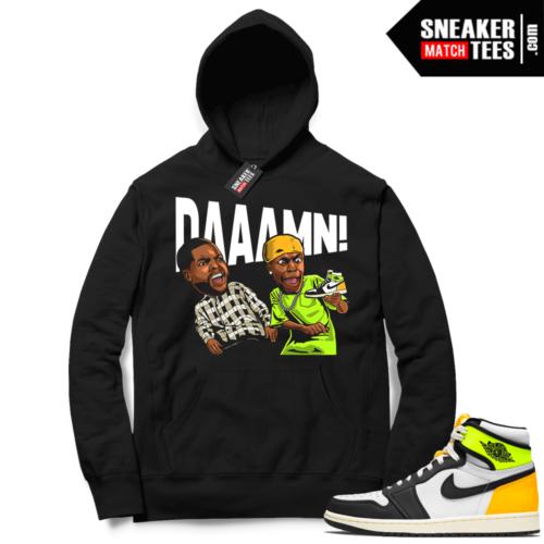 Jordan 1 Volt Gold Hoodie Sneaker Match Black DAAAMN