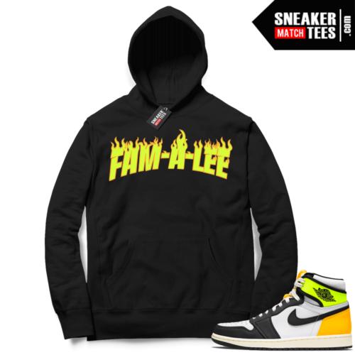 Jordan 1 Volt Gold Hoodie Sneaker Match Black FAM-A-LEE Flame JTSG
