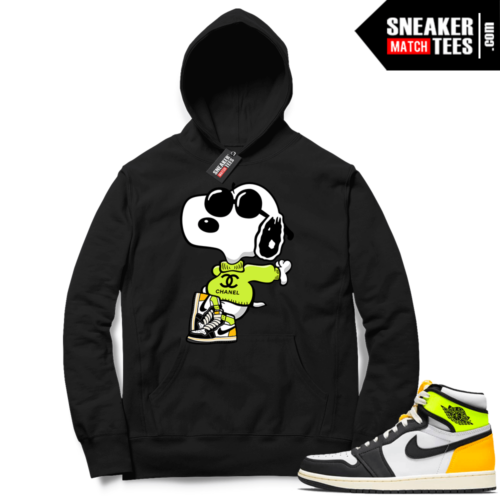Jordan 1 Volt Gold Hoodie Sneaker Match Black Fly Snoopy