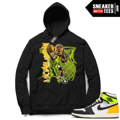 Jordan 1 Volt Gold Hoodie Sneaker Match Black MJ Toon