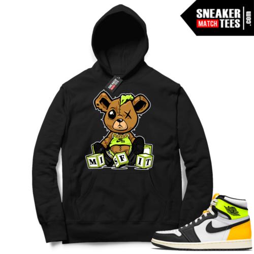 Jordan 1 Volt Gold Hoodie Sneaker Match Black Misfit Teddy