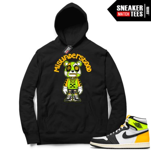 Jordan 1 Volt Gold Hoodie Sneaker Match Black Misunderstood Bear Toon