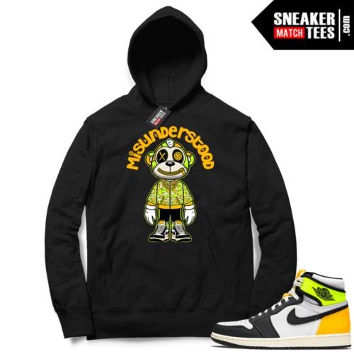 Jordan 1 Volt Gold Hoodie Sneaker Match Black Misunderstood Monkey Toon