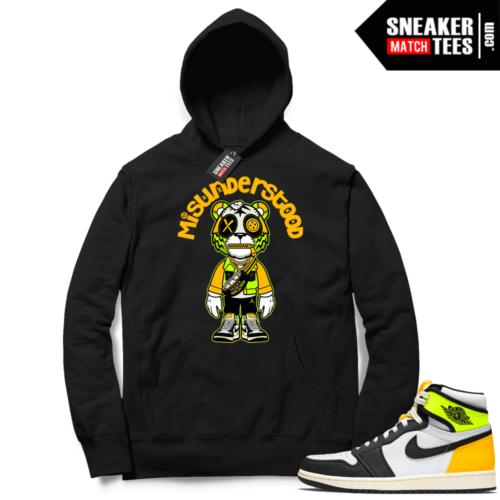 Jordan 1 Volt Gold Hoodie Sneaker Match Black Misunderstood Tiger Toon