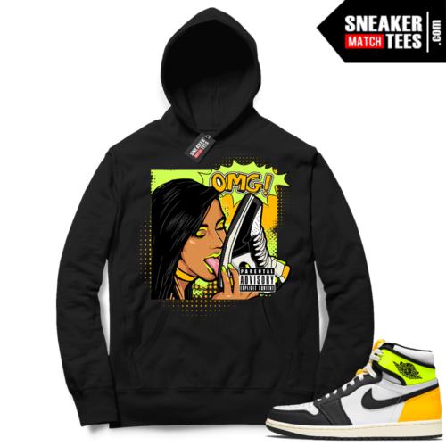 Jordan 1 Volt Gold Hoodie Sneaker Match Black OMG Sneakers