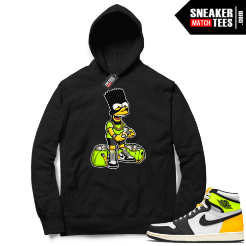 Jordan 1 Volt Gold Hoodie Sneaker Match Black Paid
