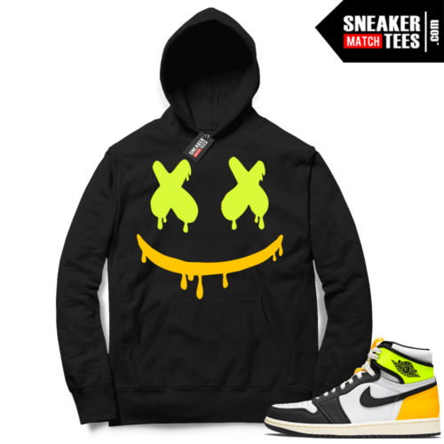 Jordan 1 Volt Gold Hoodie Sneaker Match Black Smiley Drip