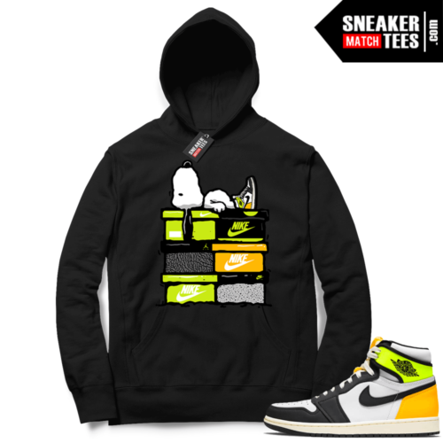 Jordan 1 Volt Gold Hoodie Sneaker Match Black Sneakerhead Snoopy