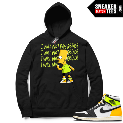 Jordan 1 Volt Gold Hoodie Sneaker Match Black Will Not Pay Resale
