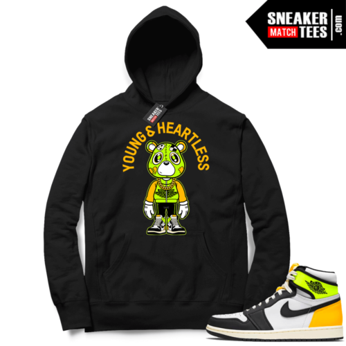 Jordan 1 Volt Gold Hoodie Sneaker Match Black Young & Heartless Bear Toon