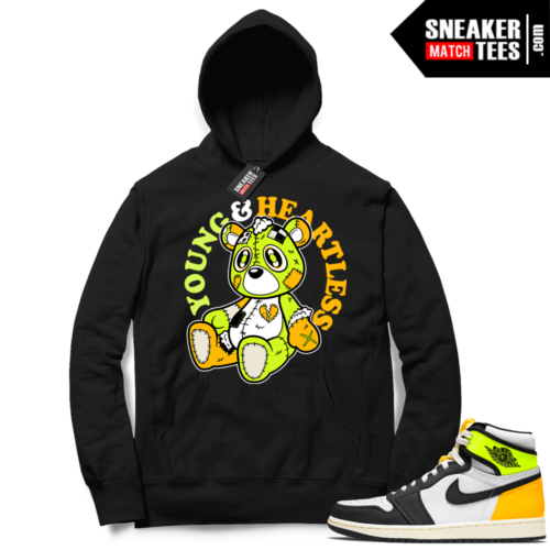 Jordan 1 Volt Gold Hoodie Sneaker Match Black Young & Heartless Teddy