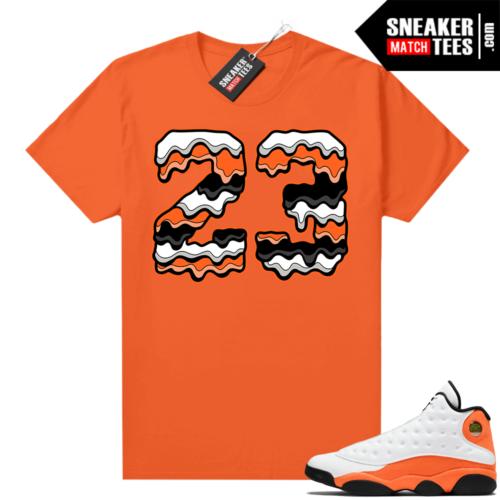 Jordan 13 Starfish Match Sneaker Tees Shirt Orange 23 Drip
