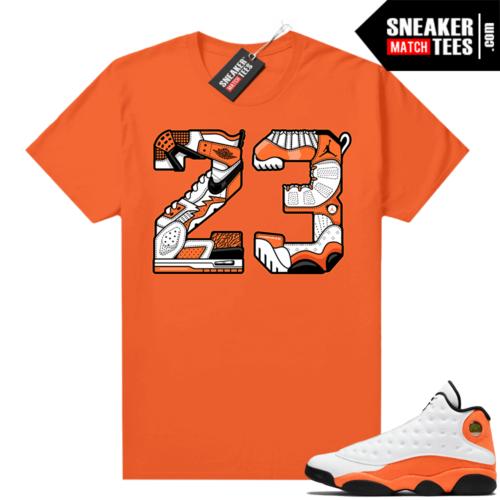 Jordan 13 Starfish Match Sneaker Tees Shirt Orange 23 Mashup