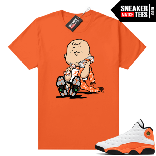 Jordan 13 Starfish Match Sneaker Tees Shirt Orange Designer Charlie