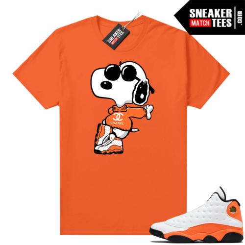Jordan 13 Starfish Match Sneaker Tees Shirt Orange Fly Snoopy