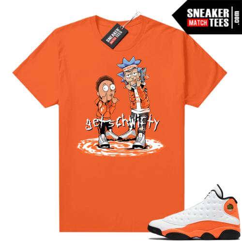 Jordan 13 Starfish Match Sneaker Tees Shirt Orange Get Schwifty